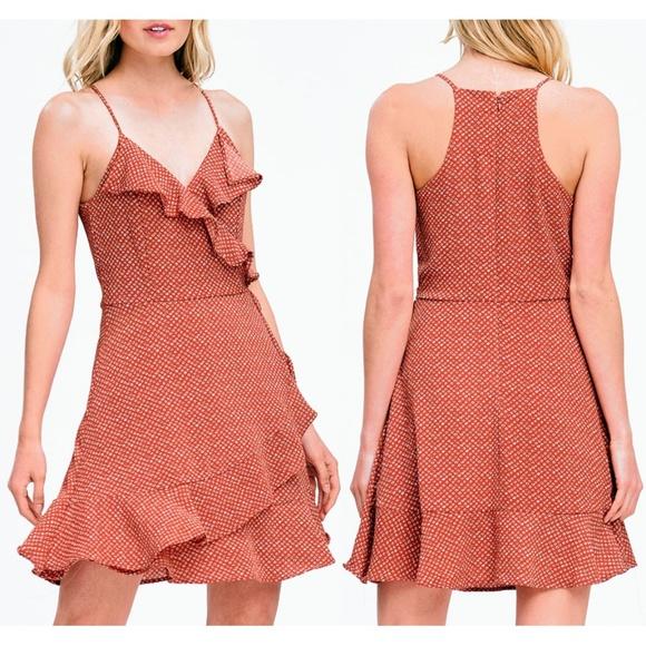 2889b73d37 Charlotte Russe Rust Retro Ruffle Faux Wrap Dress